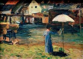 Wassily Kandinsky: Kallmünz, Gabriele Münter beim Malen I