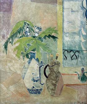 Oskar Moll: Vase mit Zweigen und Krug mit Pinseln