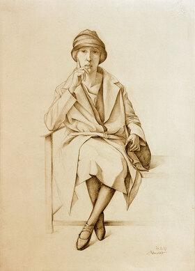 Alexander Kanoldt: Sitzendes junges Mädchen in Mantel und Hut