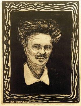 Edvard Munch: Portrait Agust Strindberg, schwed. Schriftsteller Stockholm