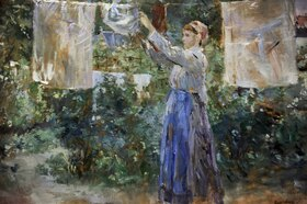 Berthe Morisot: Peasant girl hanging clothes to dry