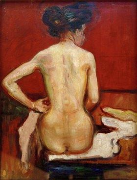 Edvard Munch: Sitzender Rückenakt vor rotem Hintergrund