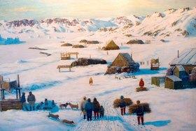Emanuel A. Petersen: Grönland, Winterliche Inuit-Siedlung