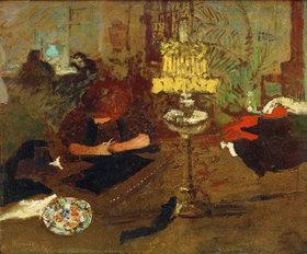 Pierre Bonnard: Nähende bei Lampenlicht