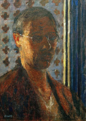 Pierre Bonnard: Autoportrait à contre-jour, papier à fleurs, Self-portrait in the backlight, flowered wallpaper