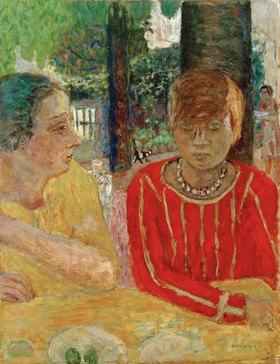 Pierre Bonnard: Reine Natanson et Marthe Bonnard au corsage rouge