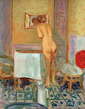 Pierre Bonnard: Akt mit rotem Stoff oder Bei der Toilette