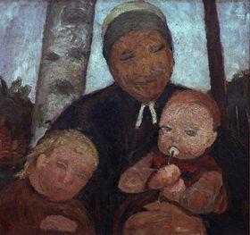 Paula Modersohn-Becker: Brustbild einer Bäuerin mit Kind und Säugling zwischen Birkenstämmen