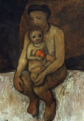 Paula Modersohn-Becker: Sitzende Mutter mit Kind auf dem Schoß