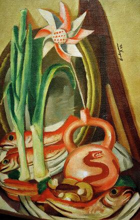 Max Beckmann: Stilleben mit Fischen und Papierblume