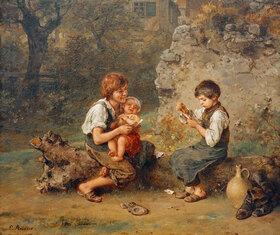 Ludwig Knaus: Kartenspielende Schusterjungen