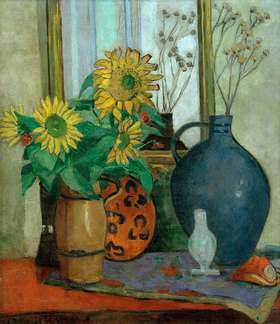 Oskar Moll: Sonnenblumen mit Matisse-Schale