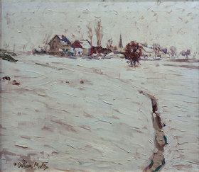 Oskar Moll: Snow-Covered Landscape near Grafrath