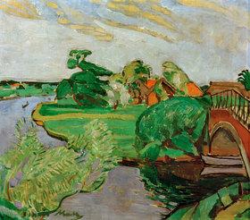 Oskar Moll: Flusslandschaft mit Brücke