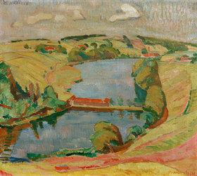Oskar Moll: Landschaft bei Ebersberg mit See