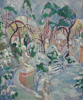Oskar Moll: Garden with Snow