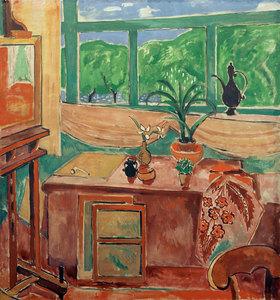 Oskar Moll: Atelierstilleben mit Iris und mehrteiligem Fenster