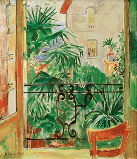 Oskar Moll: View from the balcony of palms and a house Abbazia