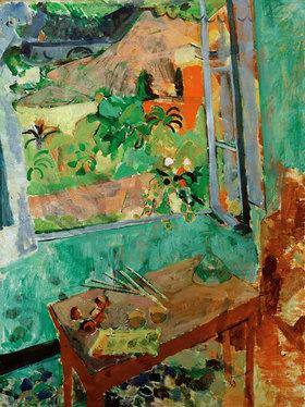 Oskar Moll: Atelier mit Fensterausblick auf Haus und Brücke, Levanto