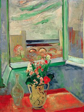 Oskar Moll: Levanto I: Blumenstrauß am Fenster mit Brücke