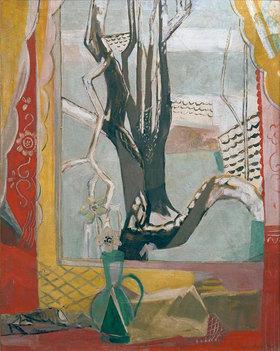 Oskar Moll: View through the window on a showÐ covered tree