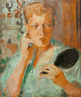 Oskar Moll: Porträt Margarethe mit schwarzem Handspiegel