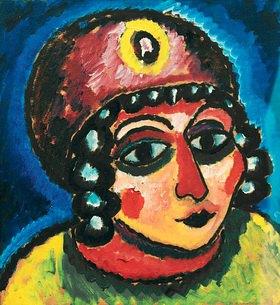 Alexej von Jawlensky: Mädchenkopf mit rotem Turban und gelber Agraffe (Barbarenfürstin)