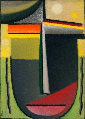 Alexej von Jawlensky: Abstrakter Kopf: Inneres Schauen Grün - Gold', 1926, N