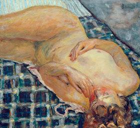 Pierre Bonnard: Liegender Akt auf weissblau kariertem Grund