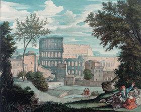 Franz Theobald Horny: Das Kolosseum mit romantischen Figuren