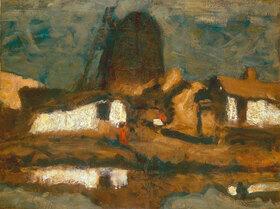 Joseph Kostka: Landschaft mit Windmühle