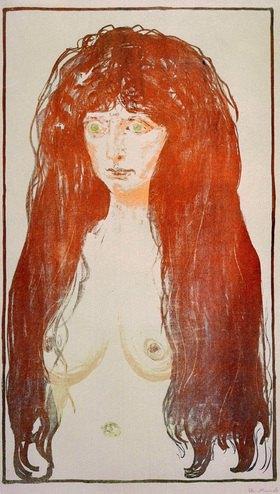 Edvard Munch: Aktfigur, Die SündeMunch, Edvard 1863?1944, Aktfigur die Sünde, 1901, Farblithographie, 49,5 × 39,8 cm