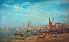 Gustav Schönleber: Venedig, Venezia. Blick über das Bacino di S. Marco auf Dogenpalast und Campanile