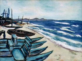 Max Beckmann: Strand mit Booten an der Riviera