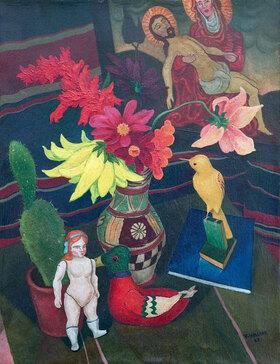 Rudolf Wacker: Stilleben mit nackter Puppe, Kaktus und Pietàbild