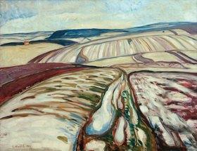 Edvard Munch: Schneeschmelze bei ElgersburgMunch, Edvard 1863?1944, Schneeschmelze bei Elgersburg, Tauwetter, 1906, Öl auf Leinwand, 71 × 91 cm