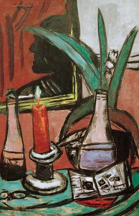 Max Beckmann: Selbstbildnis im großen Spiegel mit Kerze