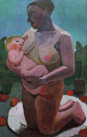 Paula Modersohn-Becker: Kniende Mutter mit Kind an der Brust