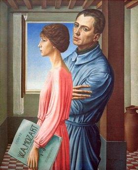 Ubaldo Oppi: Ritratto del pittore con la moglie (Selbstbildnis mit Ehefrau)