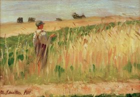 Kurt Schwitters: Bauer auf einem Weizenfeld, (Farmer in field of wheat), 1912.Oil on card, 23.5 x 33 cm.Private collection