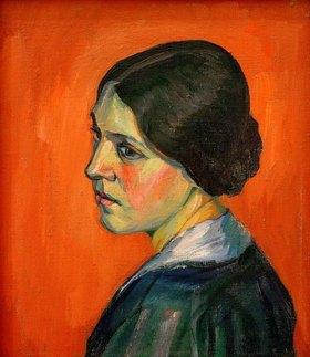 Kurt Schwitters: Porträt Helma Schwitters,1916.Oil on canvas, 45 × 38.5 cm.Estate of Kurt Schwitters