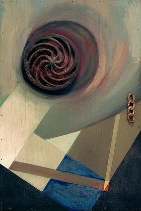Kurt Schwitters: Merzbild mit Kette, 1937.Assemblage, Öl auf Holz,72,7 × 49 cm.Sammlung Bergmann