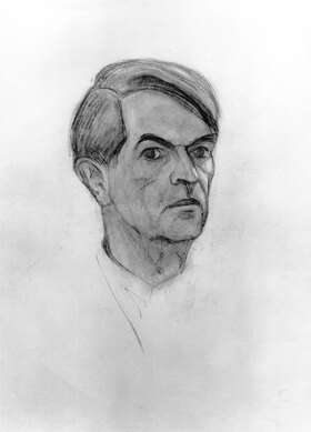 Alexander Kanoldt: Selbstbildnis im Dreiviertelprofil nach rechts