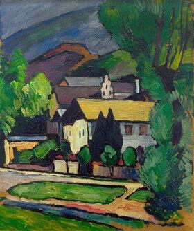Alexander Kanoldt: Bayerische Dorfhäuser unter Bäumen