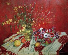 Maria Slavona: Stillleben vor rotem Hintergrund