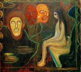 Edvard Munch: Mädchen und drei Männerköpfe