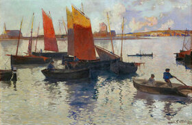Charles Cottet: Der Hafen von Camaret im Abendlicht