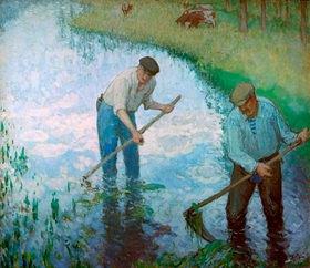 Pierre-Eugene Montézin: Paysants sur les berges de la prairie (Bauern an der Uferböschung neben einer Wiese)