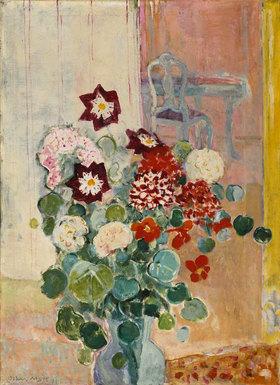 Oskar Moll: Blumenstrauss mit Dahlien und Kresse