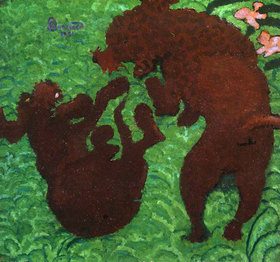 Pierre Bonnard: Two dogs playing